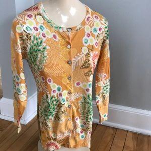 Charlotte silk blend Asian print button sweater, S